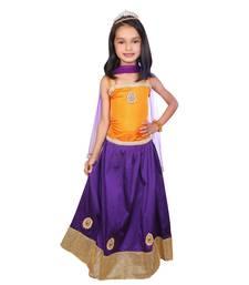 Buy Purple Lace Tafetta kids lehenga choli kids-lehenga-choli online
