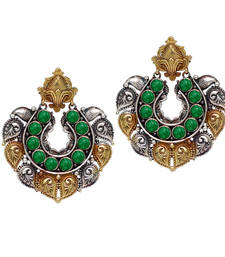Buy Green silver plated danglers drops danglers-drop online