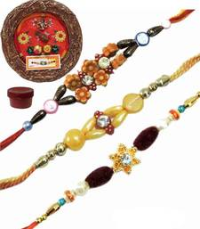 Buy Beads and stone rakhi of three with designer thali bhaiya-bhabhi-rakhi online