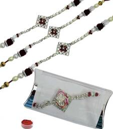 Buy Mesmerizing of four pcs ad and bracelet rakhis bracelet-rakhi online