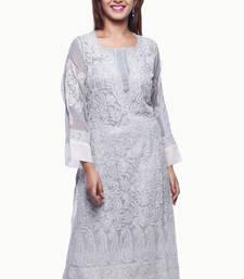 Buy Grey embroidered georgette chikankari-kurtis chikankari-kurti online