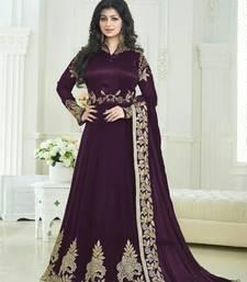 Buy Violet embroidered georgette semi stitched bollywood dress ayesha-takia-salwar-kameez online