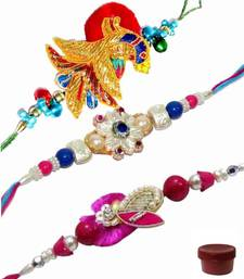 Buy Full of joy with rakhi zardosi-rakhi online
