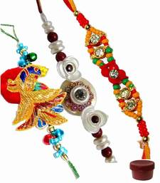 Buy Precious of three fancy and zardosi rakhis zardosi-rakhi online