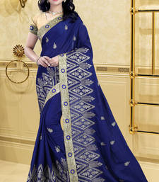Buy Blue embroidered satin saree with blouse georgette-saree online