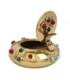 Buy Pure Brass Gemstone Ash Tray Handicraft Gift tray online
