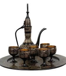 Buy Antique Royal Wine Set Black Metal Handicraft tray online