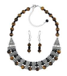 Buy Tribal Trek Black Onyx & Yellow Tiger Eye Gemstone Beads Designer Two- Piece Necklace Set necklace-set online
