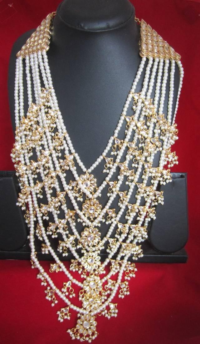 Buy 7 Layer Kundan Rani haar pearl gold plated necklace set Online