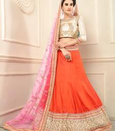 Buy Orange embroidered silk semi stitched lehenga lehenga-choli online
