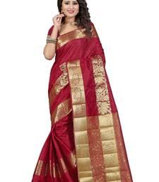 Buy Maroon Art Silk saree with blouse durga-puja online