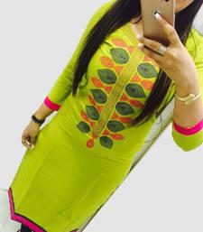 Buy Green embroidered georgette kurti georgette-kurti online
