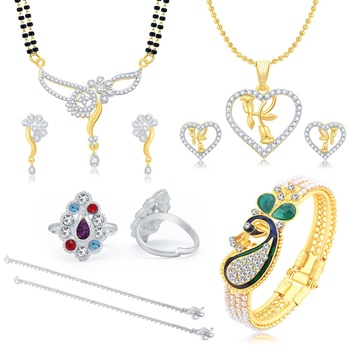 Valentine Collection Glimmery Peacock Gold Plated  Combo For Women