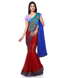 Buy Blue embroidered jacquard saree with blouse one-minute-saree online