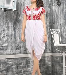 Buy Off white embroidered georgette georgette-kurtis heavy-work-kurti online
