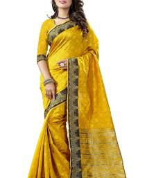 Buy Yellow hand woven cotton silk saree with blouse kanchipuram-silk-saree online
