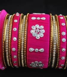 Buy Perfect for wedding dark pink thread work bangles bangles-and-bracelet online