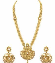Buy Long Golden Beige Polki Stones Necklace Set Jewellery for Women - Orniza necklace-set online