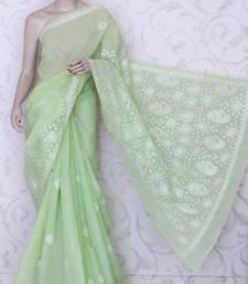 Buy Hand Embroidered Lucknowi Chikankari Saree (W/B-Cotton) chikankari-saris online