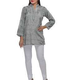Buy Grey embroidered cotton embroidered-kurtis embroidered-kurti online