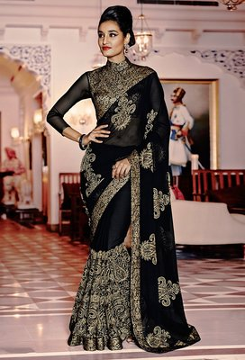 IndianEFashion BlackChiffonEmbroidery  Designer Saree