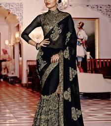 Buy IndianEFashion BlackChiffonEmbroidery  Designer Saree georgette-saree online
