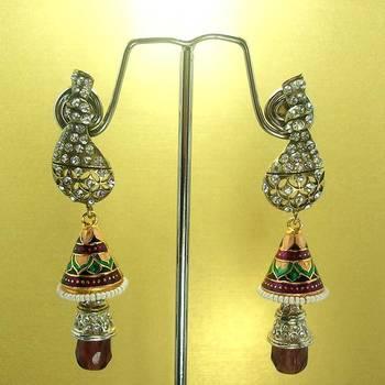 Meenakari Victorian Combo Earrings (Maroon Pink)