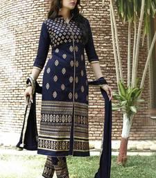 Buy Navy blue embroidered cotton unstitched salwar with dupatta cotton-salwar-kameez online