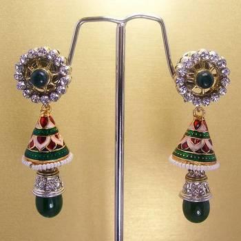 Meenakari Victorian Combo Earrings (Green White)