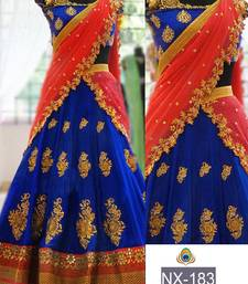 Buy Blue embroidered georgette unstitched lehenga bridal-lehenga online