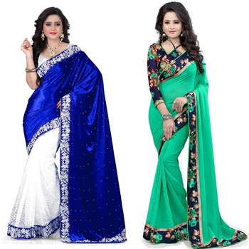 Multicolor plain velvet saree with blouse