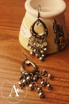 Black Amethyst Earrings, Sterling Black Metal Antique Earrings, Royal Dull Amethyst Dangle Earrings