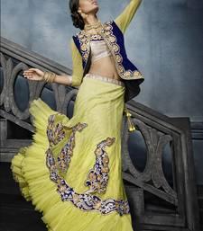 Buy Light yellow embroidered net unstitched lehenga punjabi-lehenga online
