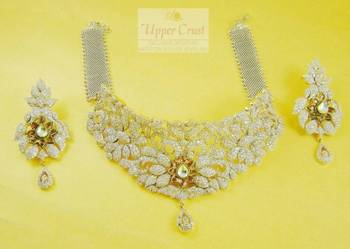 CZ Simulated Diamond Kundan Choker Bridal Necklace Set