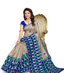 Buy Grey printed cotton saree with blouse cotton-saree online