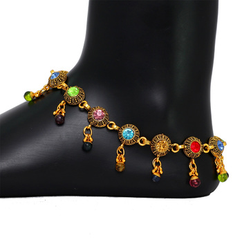 Oxidised Gold Tone Multi Color Crystals Fashion Jewelry Payal Anklets for Girls