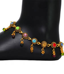 Buy Oxidised Gold Tone Multi Color Crystals Fashion Jewelry Payal Anklets for Girls anklet online