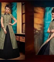 Buy Black printed banglori silk unstitched lehenga punjabi-lehenga online