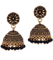 Buy Floral Design Gold Oxidised Black Color Beaded Jhumki Earrings For Girls/Women jhumka online