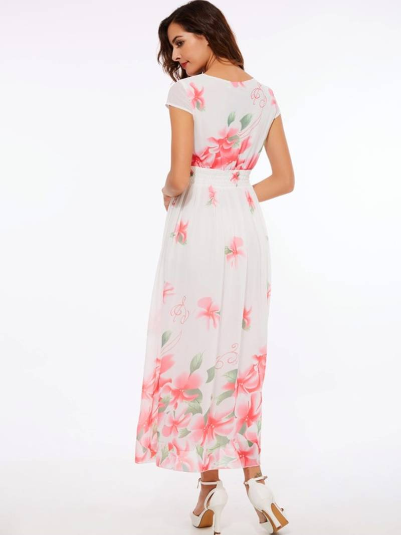 Buy White Floral Print Georgette Ethnic Kurtis Online