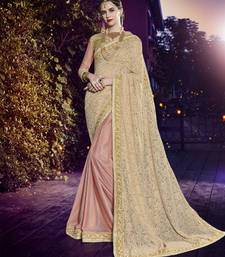 Buy Beige and pink embroidered art silk saree with blouse heavy-work-saree online