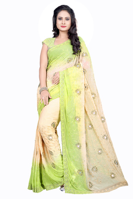 Green embroidered nazneen saree with blouse