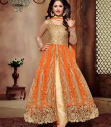 Buy Lehenga choli in Orange embroidered net unstitched pakistani lehenga eid-lehenga online