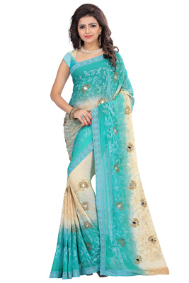 Sky blue embroidered nazneen saree with blouse
