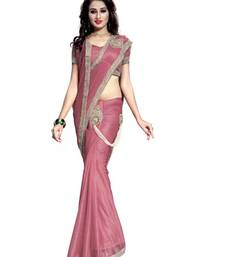 Buy Pink embroidered crepe saree with blouse heavy-work-saree online