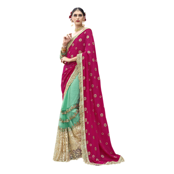Green embroidered crepe saree with blouse