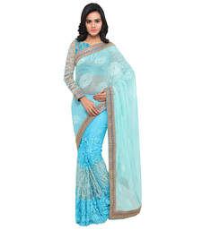 Buy Blue embroidered net saree with blouse party-wear-saree online