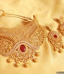 Buy Ruby diamond look choker necklace set necklace-set online