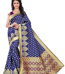Buy Navy blue printed banarasi saree with blouse banarasi-saree online