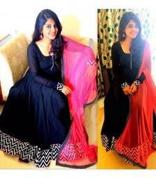 Buy Black embroidered art silk semi stitched salwar with dupatta anarkali-salwar-kameez online